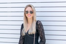 BLACK LACE + A POP OF PINK